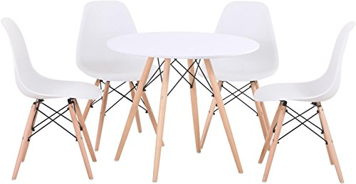 N.B.F Scandinavian Dining Set - 80CM Round Dining Table with Beech Wood Legs and Set of 4 White Plastic Chairs
