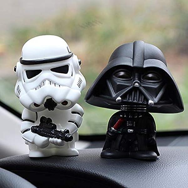 Kgftdk 2 Stücke Auto Ornament Mini Schwarz Darth Vader Weiß Stormtrooper Modell Star Wars Action Figure Puppe Auto Innen Auto Dekoration Geschenk Garten