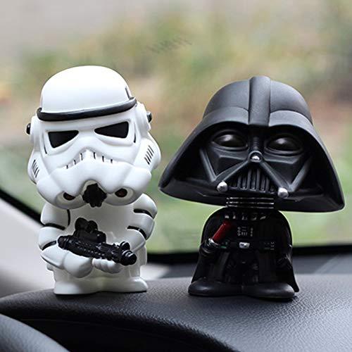 kgftdk 2 Pezzi Auto Ornament Mini Black Darth Vader White Stormtrooper Modello Star Wars Action Figure Doll Car Interior Auto Decorazione Regalo