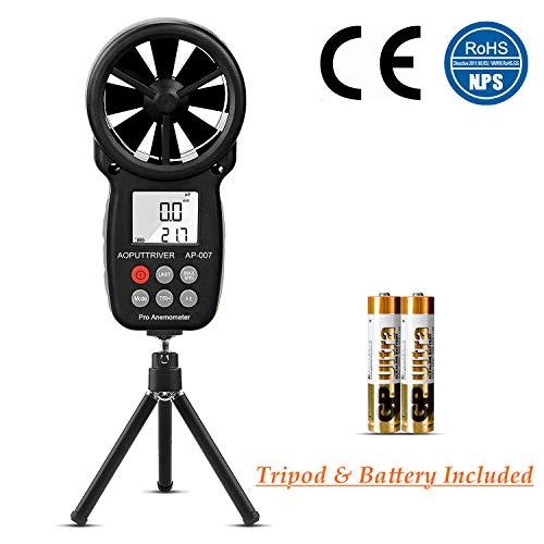 Digitaler Anemometer,Handheld Windmesser,LCD Windgeschwindigkeitsmesser zur Messung von Windgeschwindigkeit, Temperatur und Windkühlung mit Hintergrundbeleuchtung und Max/Min - AP-007 -