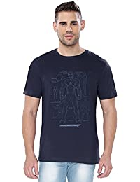 The Souled Store Iron Man: Armour Blue Print Superhero Printed Premium NAVY BLUE Cotton T-shirt for Men Women and Girls