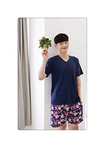 Womens Pajamas Sets Couple Pijama Set Cotton 2 Bears Print Short-Sleeve Multicolor Shirt and Navy Shorts Mujer Leisure Pyjamas Duan honghua Men L