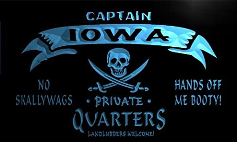 pw2015-b Iowa Captain Private Quarters Skull Bar Beer Neon Light Sign