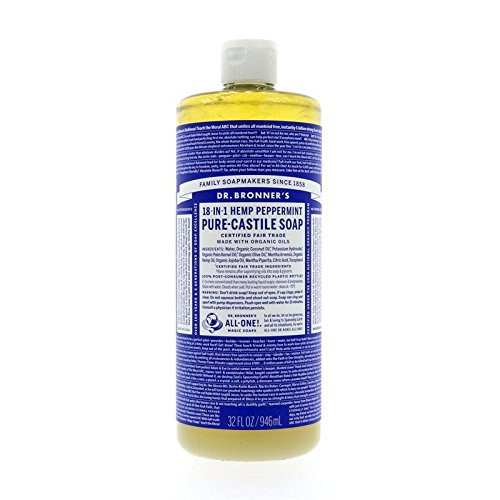 Dr. Bronner's Organic Pure Castile Liquid Soap, Peppermint Oil, 32 oz, 2 pk by Dr. Bronner's
