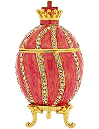 The Olivia Collection TOC Pink Fabrege-Style Egg Trinket Jewellery Box