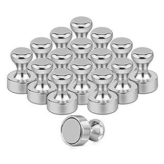 Uktunu 16 Stück Metallmagnetische Push-Pins Silber Push-Pin-Magnete Perfekt für Kühlschrankmagnete, Büromagnete, Whiteboard-Magnete, Kartenmagnete