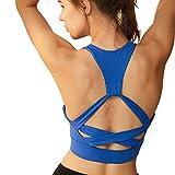 Zhangbei Reggiseno Sportivo ad Alto Impatto Senza Rimbalzo Senza Anello in Acciaio Stile acconciatura Yoga Fitness Antiurto Intimo Donna Corsa (Colore : Blue, Taglia : M)