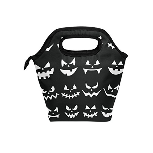 coosun Scary Halloween Kürbis Gesichter Lunch Tasche Isolierte Thermo Kühler Lunch Bag Wasserdichte Neopren Lunch Handtaschen Tote mit Reißverschluss für Outdoor-Reise Picknick
