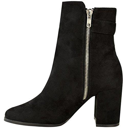 Femmes Mesdames Bottines Bloque Mid Talon Haut DécontractéÉpais Chaussures Hiver Taille Noir Daim Synthétique