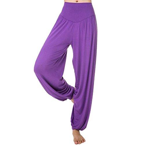 Cayuan Harem pantalones anchos Fla polainas pantalones Hippie Yoga suelto con cintura de la elasticidad para Mujer Púrpura SG