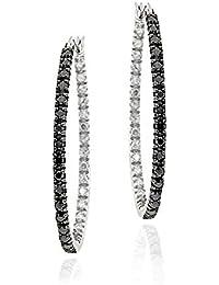 Boucle d'Oreilles Cerceau Ovaleen Argent Sterling avec un Accent de Diamant Noir