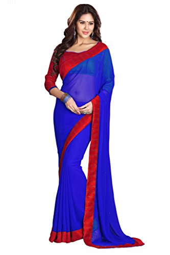 Sourbh Faux Georgette Saree (7314_Blue)