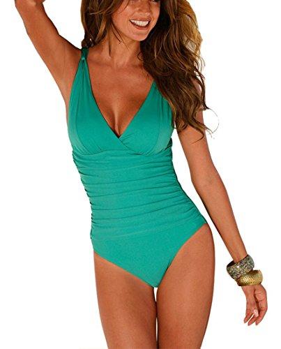 DFXIU V-Collo Costume da Bagno intero Donna Push up Monotoni Retro Tankini Regolabile Costume da Mare Sexy Pezzo Intero(S-4XL) (L(EU34-36), Verde)