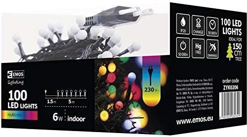 Emos LED Lichterkette Typ Classic Cherry Kugel multicolor, Länge 6,5m, 100 LEDs, 230V mit Stecker, geeignet für Innen Schutzklasse IP20, Farbe: bunt/multicolor (Lichterkette Multi-color)