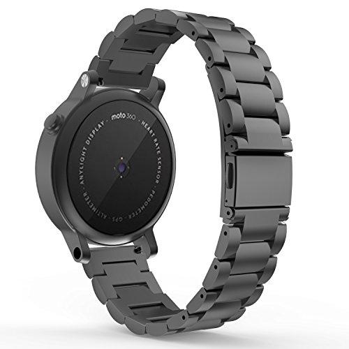 MoKo Armband für Gear S2 Classic SM-R732 Smart Watch - Edelstahl Metall Uhr Armband Ersatz für Garmin Vivoactive 3/Samsung Gear S2 Classic/Galaxy Watch 42mm/Motorola Moto 360 42mm Herren, Schwarz