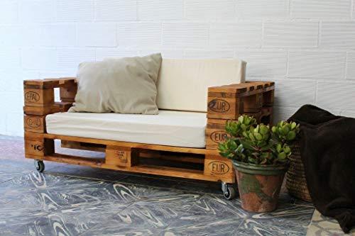 1 x SOFÁ con Ruedas para Interior & Exterior de 3 Plazas - Mueble de Terraza & Patio & Jardín hecho con Palets de Madera Reciclados (NO incluye esponja y funda) Conjunto Muebles Jardín
