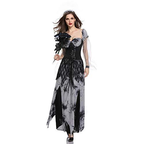 Weiblichen Kostüm Erwachsenen Sexy Für - Averyshowya Kostüme Halloween Ghost Festival Weiblich Erwachsene Sexy Braut Schwarz Langes Kleid Devil Stage Performance @Black_L