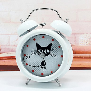 MGS-Alarm clock@Modern Design Cute & Mysterious Cat Alarm Clock Metal Twin Ring Clock Unique Gift Quartz Beside Table Clock Unique Gift , black
