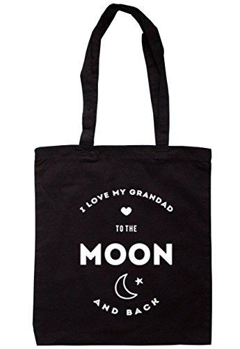 breadandbutterthreads i love my grandad to the Moon and Back Borsa 37,5cm x 42cm con manici lunghi Black