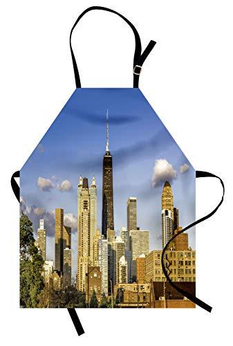 Abakuhaus Illinois Kochschürze, Downtown Chicago Architektur Ansicht in bewölktem Himmel Metropolitan Stadt Land, Farbfest Höhenverstellbar Waschbar Klarer Digitaldruck, Violett-Blau-Creme