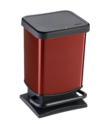 Rotho Paso - Contenedor de basura hermético a olores, con pedal, color rojo, 29,3 x 26,6 x 45,7 cm, 20 L