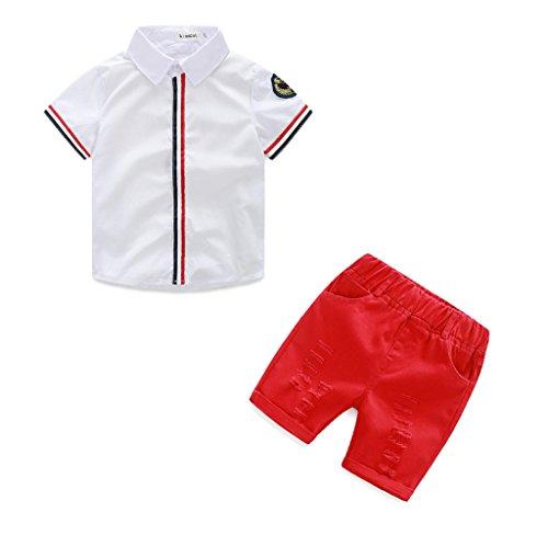 Verano Niños ropa SMARTLADY Niños bebés Camisetas Polos Tops + Pantalones cortos (2-3 años, Rojo)