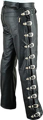 « Fuente» pantalon en cuir moto avec boucles hommes dames femme longue - jean en cuir hommes,pantalons cuir jeans 501 cuir motard Noir 1A bœuf de qualité Nappa doux (46, Noir)
