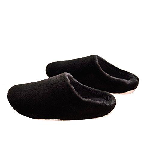 TELLW Uomo e Donna Pantofole Calde Invernali Pantofole morbide in Cotone per Interni Scarpe Invernali morbide a Permeabilità Morbida Nero