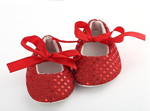 AkinosKIDS Newborn Red Soft Soled Sparkly Sequins non slip BabyGirl booties Slippers Crib Shoes