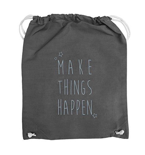 Comedy Bags - MAKE THINGS HAPPEN - Turnbeutel - 37x46cm - Farbe: Schwarz / Silber Dunkelgrau / Eisblau