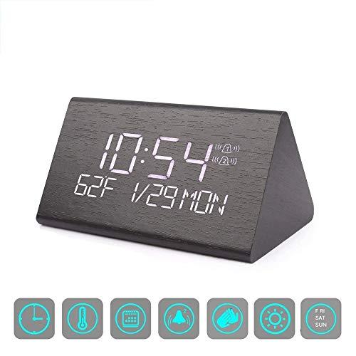 KIOio Reloj Despertador Digital, Control de Voz con Brillo Ajustable Reloj Despertador de Madera, Hogar, Oficina, Niños