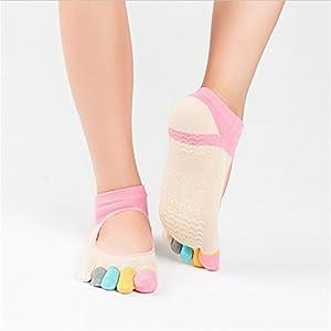 Maybesky Yoga Socken Baumwolle Halfter voll-Toed Rutschfeste Finger Socken Weibliche Zehensocken Pilates, Anti-Rutsch-Slip-Socken