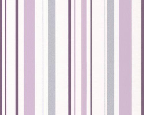A.S. Création Strukturprofiltapete Happy Hour, Streifentapete, grau, violett, weiß, 259424