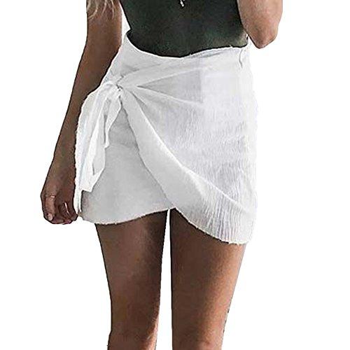 Cravate Plage Jupes courtes hibote Femmes Vintage Irrégulière Taille Haute Jupes Bodycon Wrap Jupe Mini Boho Jupes Blanc
