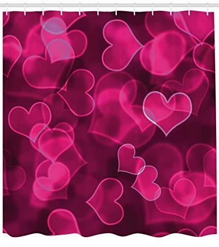 ABAKUHAUS Hot Pink Duschvorhang, Nettes Herz Verschwommen, Seife Bakterie Schimmel und Wasser Resistent inkl. 12 Haken und Farbfest, 175 x 200 cm, Magenta Hot Pink