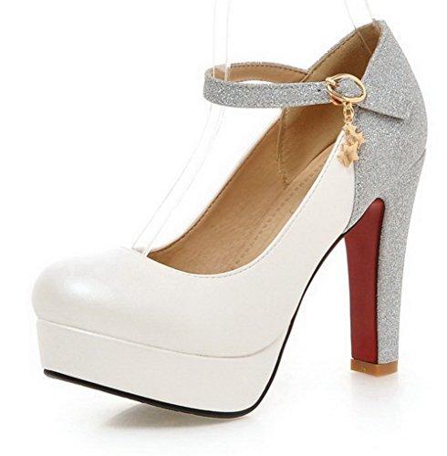 AgooLar Damen Schnalle Rund Zehe Hoher Absatz Blend-Materialien Rein Pumps Schuhe Weiß