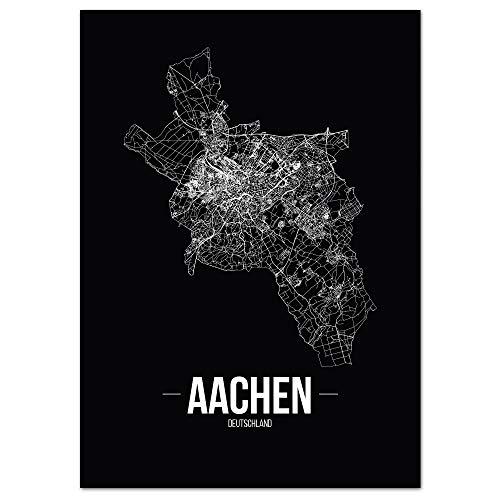 JUNIWORDS Stadtposter - Wähle Deine Stadt - Aachen - 30 x 40 cm - Schrift B - Schwarz