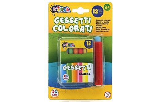 Globo Toys Globo–377909x 81mm kidea Staubfreie Farbe Kreiden mit Halterung (12-teilig)