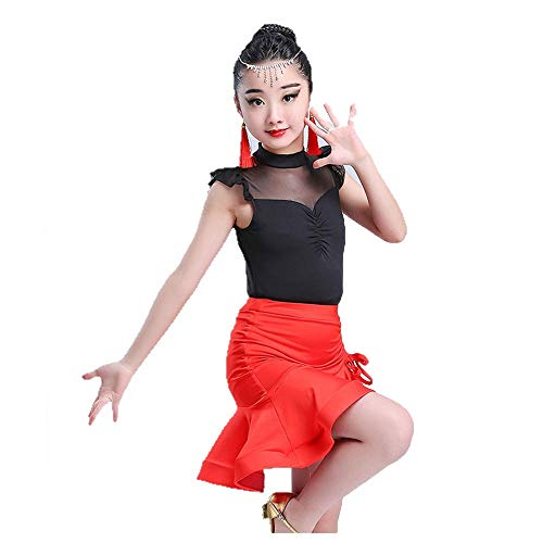Kostüm Cosplay Prinzessin Kinder Mädchen ärmellose Mesh Splice Latin Dance Dress Outfit Rüschen Tutu Rock mit Top Rumba Samba Ballsaal Dancewear Praxis Performance Dance Kostüm Schicke Party -