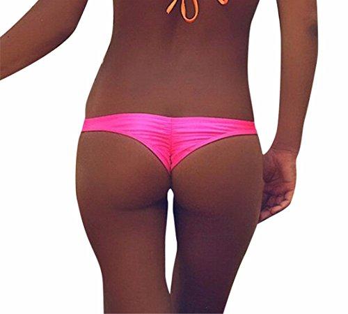 FEESHOW Sensual Mujer Verano Playa Bikini Calzoncillos Pantalones de Baño de Mujer Tanga Nuevo rosa S