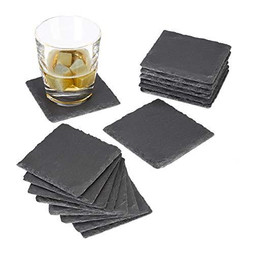 Relaxdays 16x Getränkeuntersetzer Schiefer, quadratisch 10x10 cm, Pflegeleichte Untersetzer, für Gläser, grau