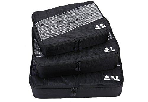 Premium Kofferorganizer 3-teiliges Packtaschen Set – Reise Packsystem mit Kleidertasche Hemdentasche Wäschetasche l Koffertaschen modernes Swiss Design Business travel line Packing Cubes schwarz