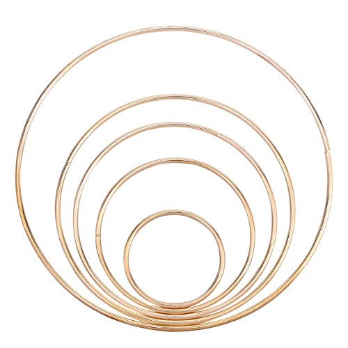 atcher Ringe aus Metall, Makramee Craft Hoop Zubehör zum Basteln, 5 Stück (Gold) ()