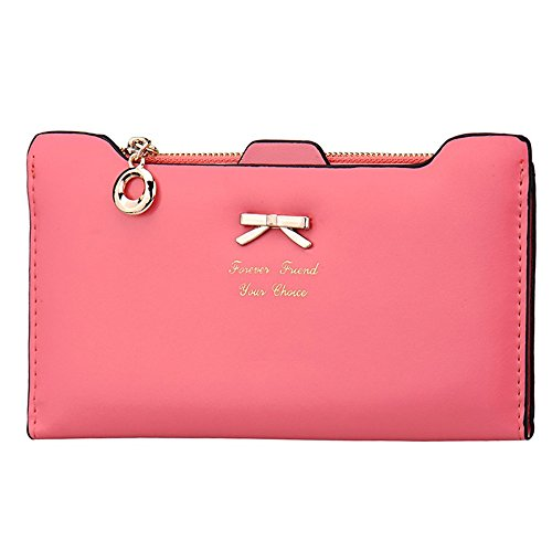 Fashion Lady in pelle frizione Portafoglio Lungo Carta Titolare Custodia Borsa, Pink (rosa) - Hjuns-123 Watermelonred