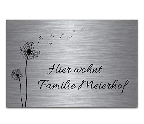 12 X 18 Metall (Edelstahl Türschild mit Gravur | Namensschilder Briefkastenschild selbstklebend oder mit Bohrlöcher 18x12 cm eckig mehr als 80 Motive Klingelschild Türschilder für die Haustür mit Namen)