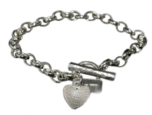 Handmade 925 Sterling Silver Textured Heart Bracelet / Bracelets - FREE Delivery in UK Gift Wrapped