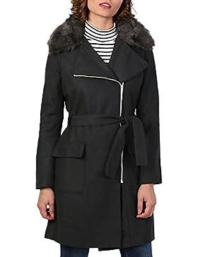 PILOT® Abrigo de mezcla de lana de cuello de piel sintética
