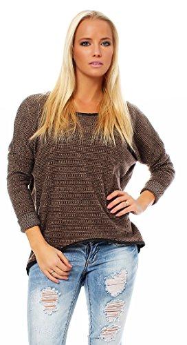 Mda Italy Damen Herbst/Winter Pullover Sweater Rundhalskragen Oberteil One Size Braun