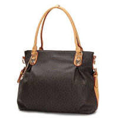 PACK Borse Handbags Di Modo Borse Madre Di Middle Age Bags Sacchetti Big Diagonal Big Bag,Coffee/Yellow Coffee/Yellow