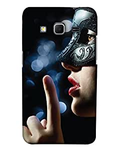 PrintHaat Polycarbonate Designer Back Case Cover for Samsung Galaxy Core Prime :: Samsung Galaxy Core Prime G360 :: Samsung Galaxy Core Prime Value Edition G361 :: Samsung Galaxy Win 2 Duos TV G360BT :: Samsung Galaxy Core Prime Duos (a beautiful girl wearing a mask in black :: a brown eyed girl wearing a mask :: woman in mask :: keep silence)
